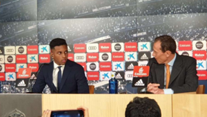 Rodrygo Goes, during his unveiling with Real Madrid