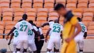 AmaZulu FC players celebrate Lehlohonolo Majoro's goal against Kaizer Chiefs, February 2021
