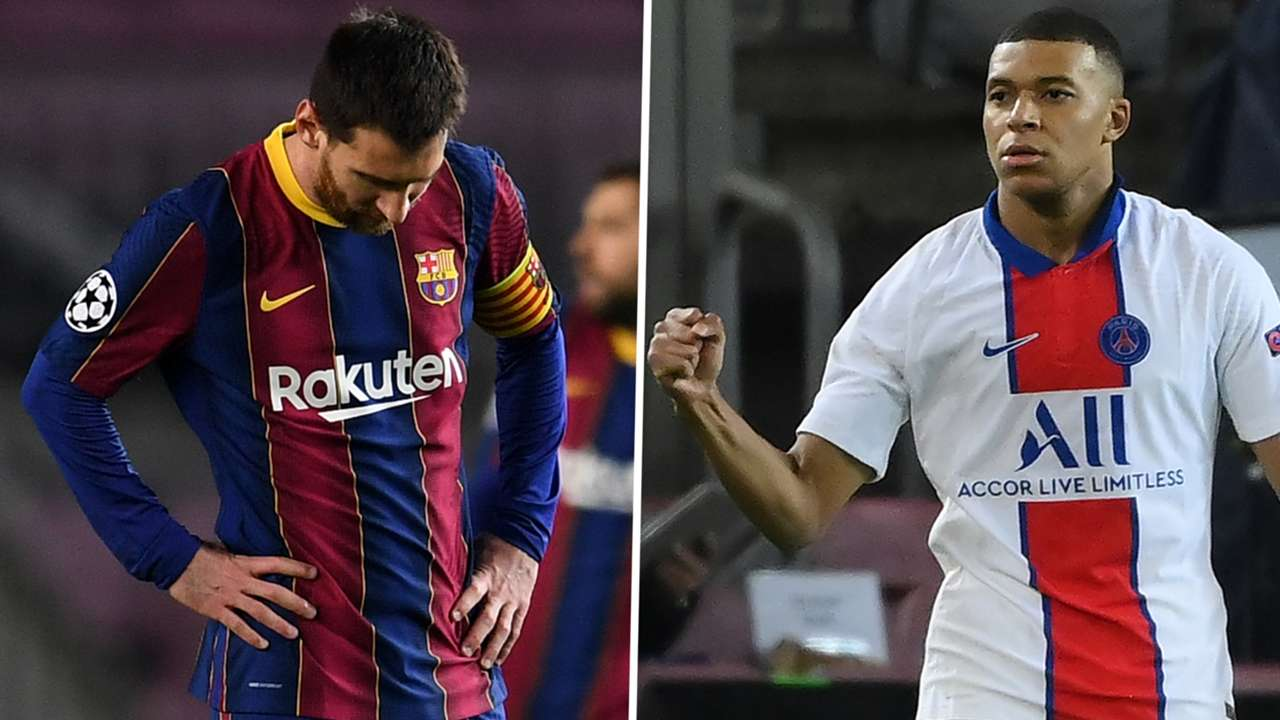Lionel Messi Kylian Mbappe Barcelona PSG GFX