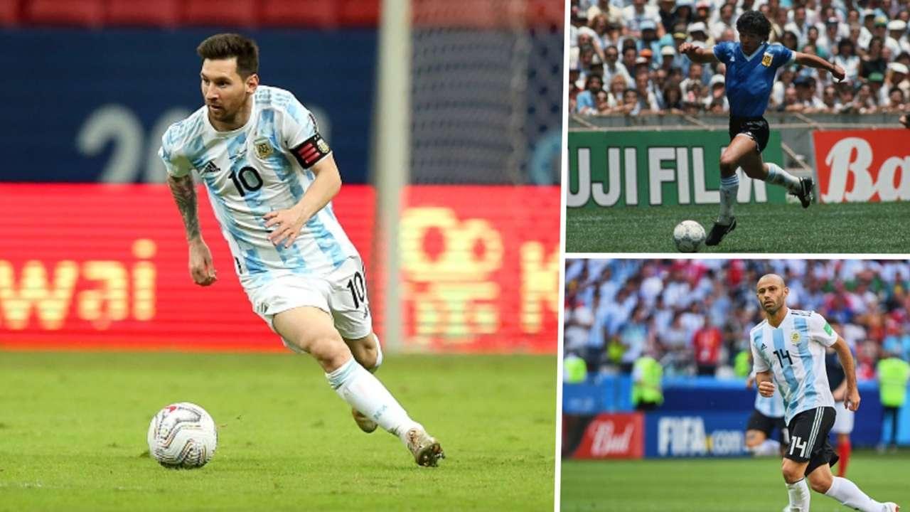 Lionel Messi, Diego Maradona, Javier Mascherano, Argentina