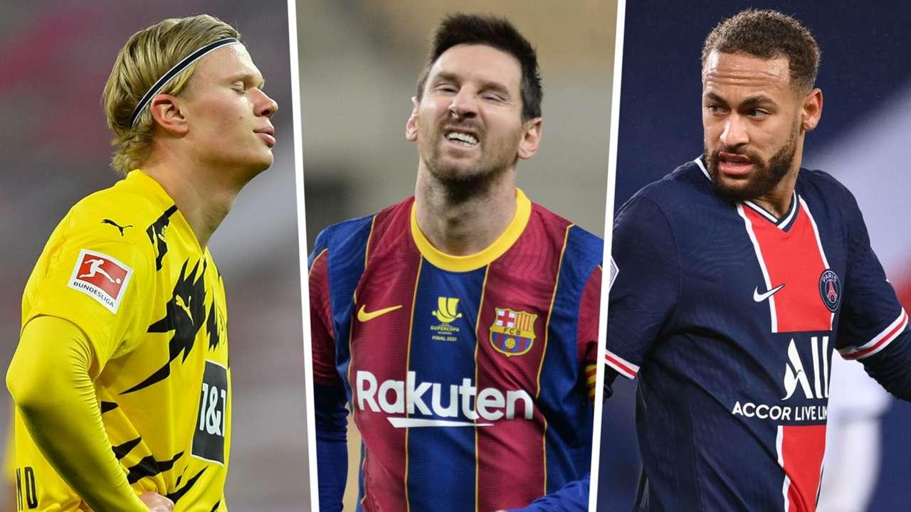 Erling Haaland Lionel Messi Neymar Dortmund Barcelona PSG GFX