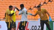 Itumeleng Khune Daniel Akpeyi and Brylon Petersen of Kaizer Chiefs February 2020