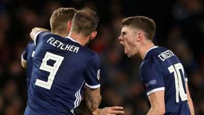 Scotland celebrate James Forrest's goal