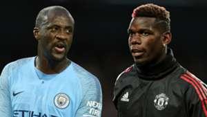 Yaya Toure Paul Pogba Manchester City Manchester United 2017-18