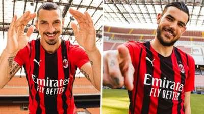 AC Milan home kit 2021-22 Zlatan Ibrahimovic Theo Hernandez