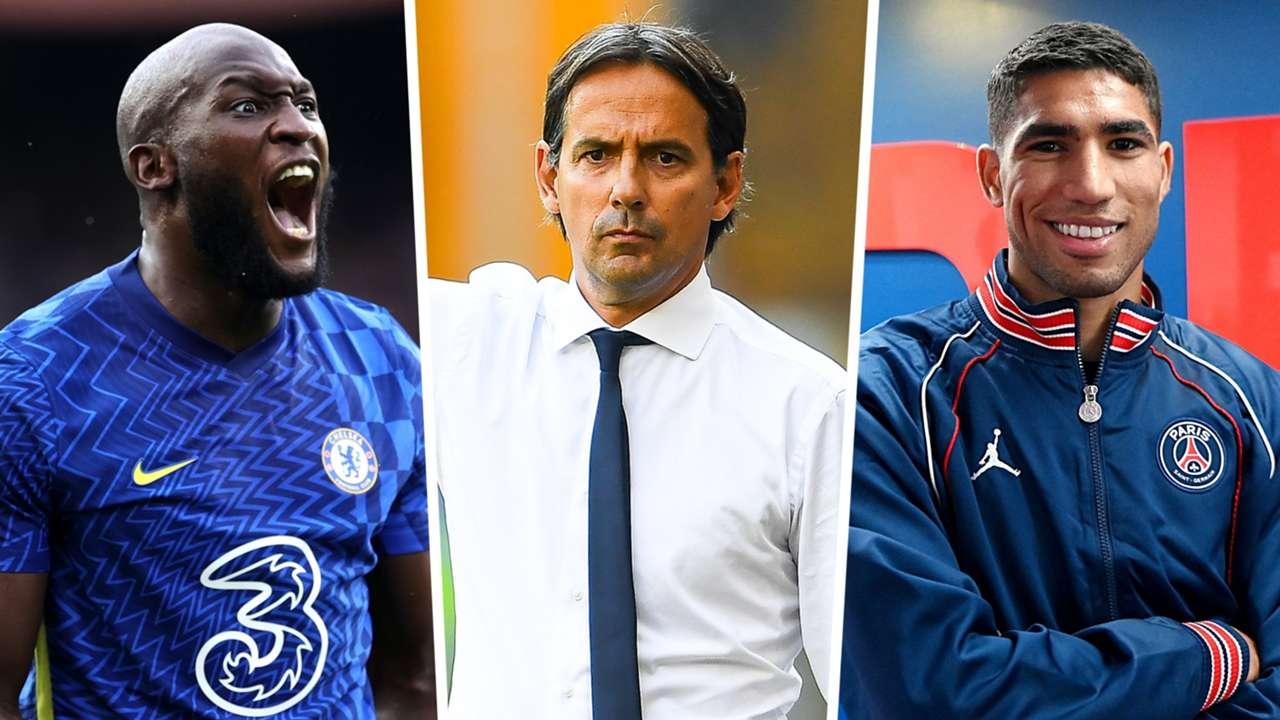 Romelu Lukaku Simone Inzaghi Achraf Hakimi Chelsea Inter PSG GFX