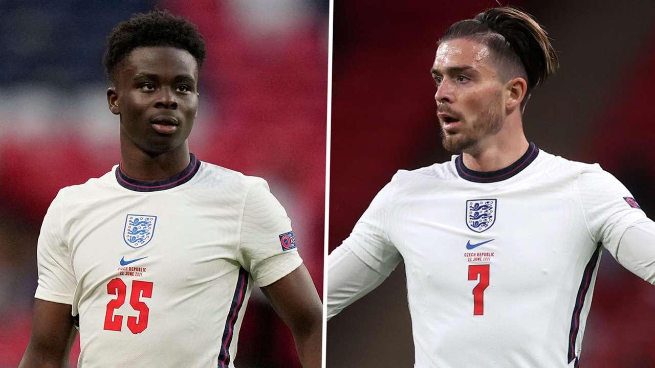 Bukayo Saka Jack Grealish England Euro 2020