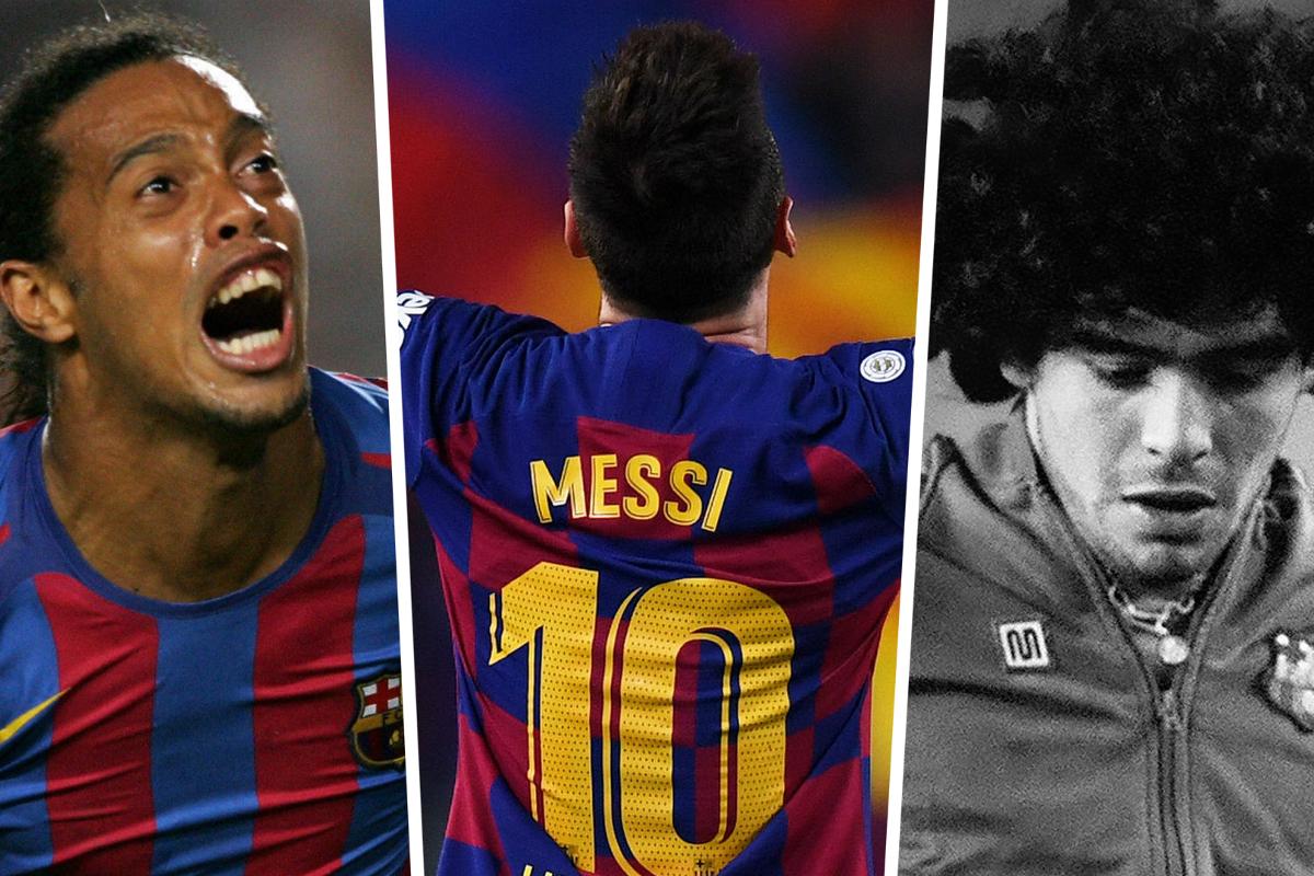 Famous Barcelona No 10s Lionel Messi Ronaldinho And Maradona Goal Com