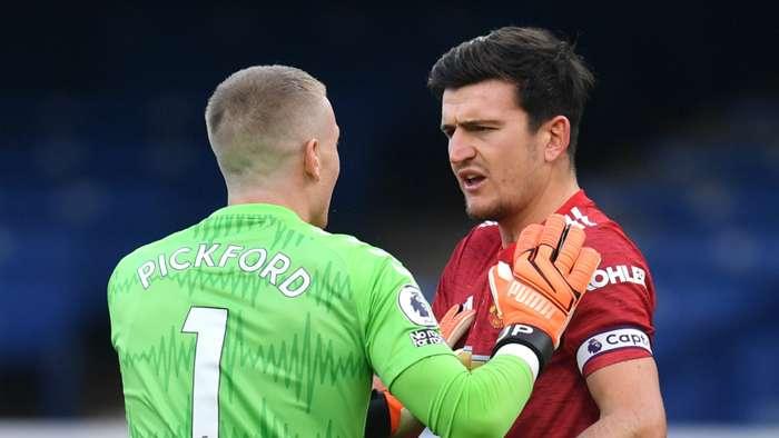 Jordan Pickford Harry Maguire Everton vs Man Utd Premier League 2020-21