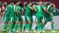احتفال لاعبي العراق بالهدف في الإمارات