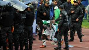 Gor Mahia players taking cover in Tunisia v Esperance.