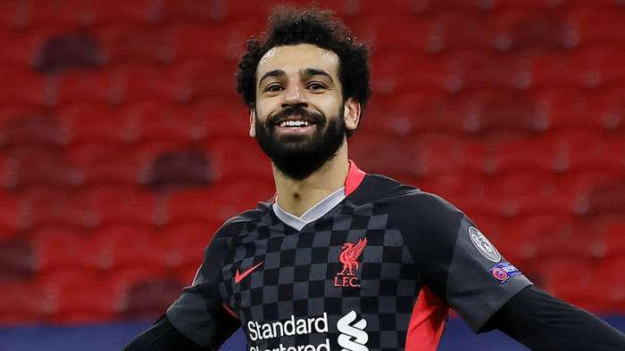 Liverpool's Mohamed Salah celebrates vs RB Leipzig, Champions League 2020-21