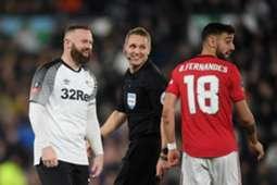 Wayne Rooney & Bruno Fernandes - Derby County v Manchester United : FA Cup 2020