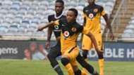 Nkosingiphile Ngcobo of Kaizer Chiefs challenges Fortune Makaringe of Orlando Pirates