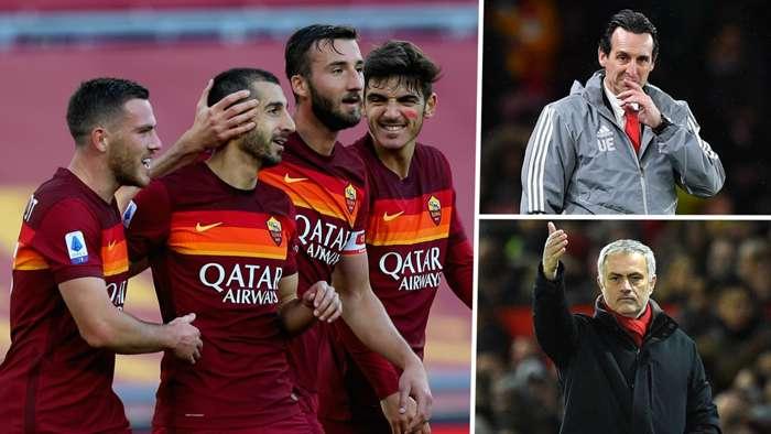 Henrikh Mkhitaryan Unai Emery Jose Mourinho Arsenal Roma Man Utd GFX