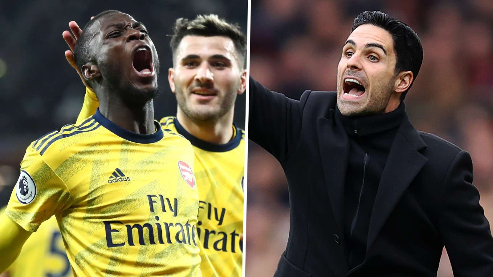 Nicolas Pepe Mikel Arteta Arsenal 2019-20 GFX