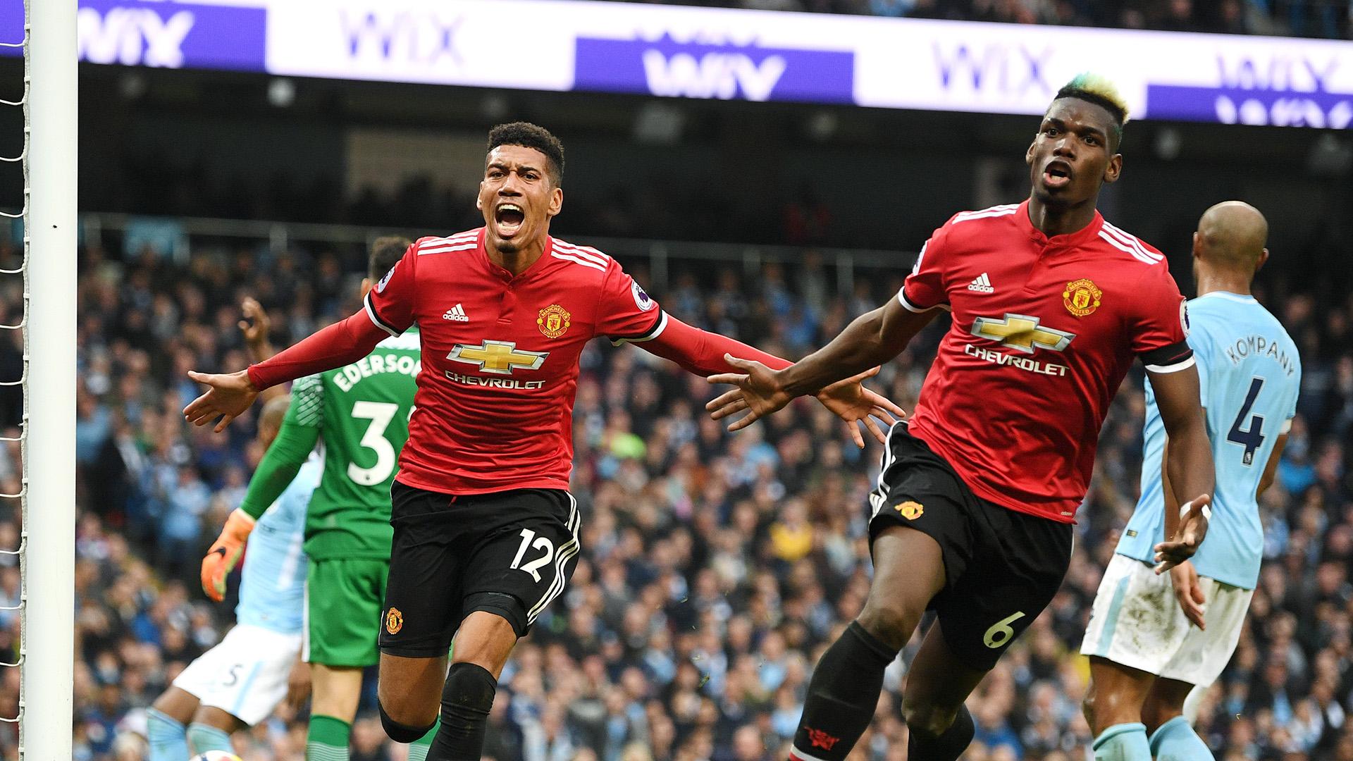 Chris Smalling Paul Pogba Manchester City Manchester United Premier League