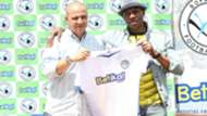 Melis Medo of Sofapaka and boss Elly Kalekwa.