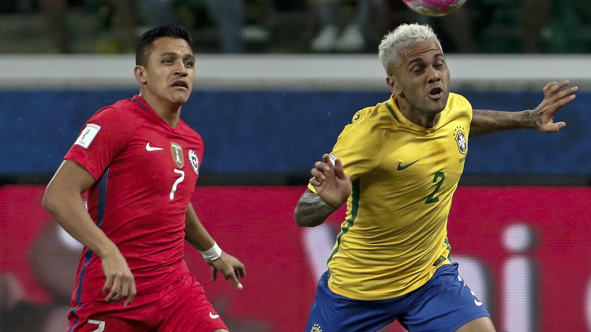 Alexis Sanchez Dani Alves Chile Brazil