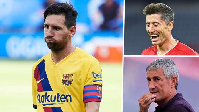 Lionel Messi Robert Lewandowski Quique Setien Barcelona Bayern Munich GFX
