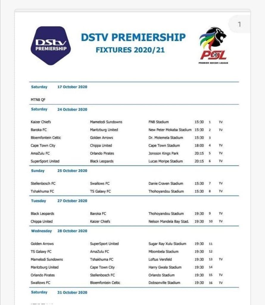 Kaizer Chiefs set to face Mamelodi Sundowns in first league match of 2020-21 PSL season