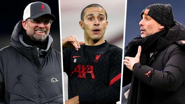 Thiago Alcantara Jurgen Klopp Pep Guardiola Liverpool GFX