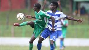Justine Monda of Sony Sugar and Dennis Shikhayi of AFC Leopards.
