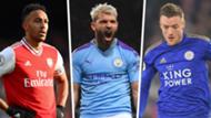 Premier League top scorers Aguero Vardy Aubameyang