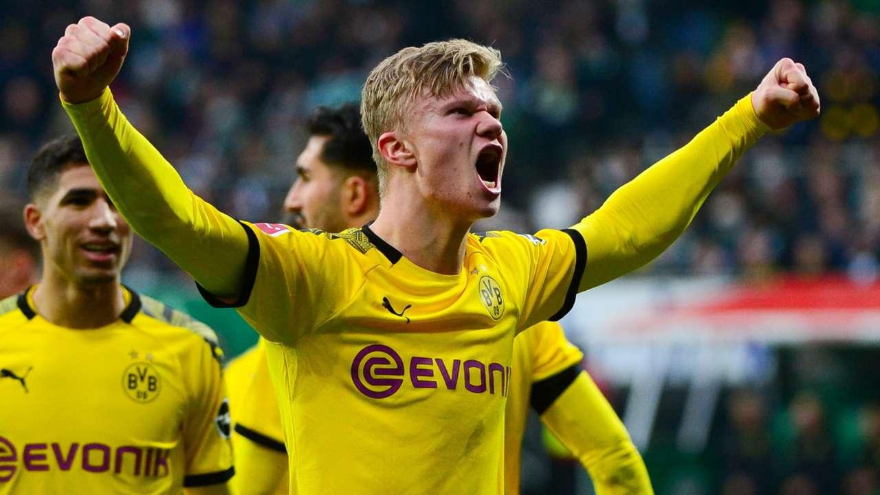 Erling Haaland celebrates vs Werder Bremen