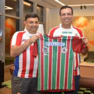 Sanjiv Goenka and Utsav Parekh with Bagan jersey