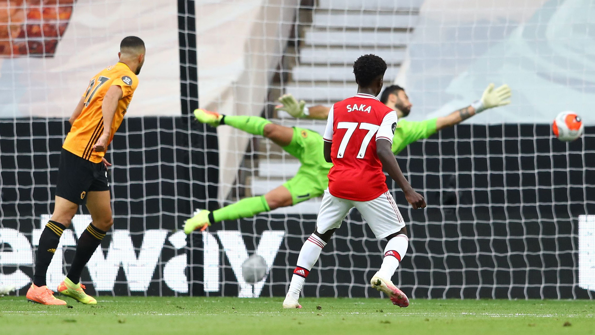 Arsenal's Saka scores first Premier League goal to end Wolves run of clean sheets