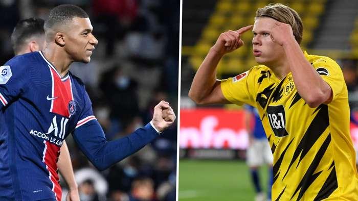 Kylian Mbappe Erling Haaland PSG Dortmund GFX
