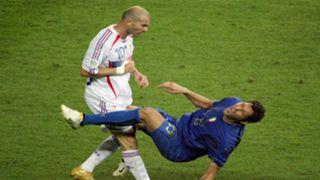 Marco Materazzi headbutted by Zinedine Zidane