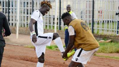 Gor Mahia's Francis Afriyie celebrates his goal in style together with his team mate Gnamien Yikpe.