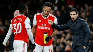Eddie Nketiah Pierre Emerick-Aubameyang Mikel Arteta Arsenal 2019-20