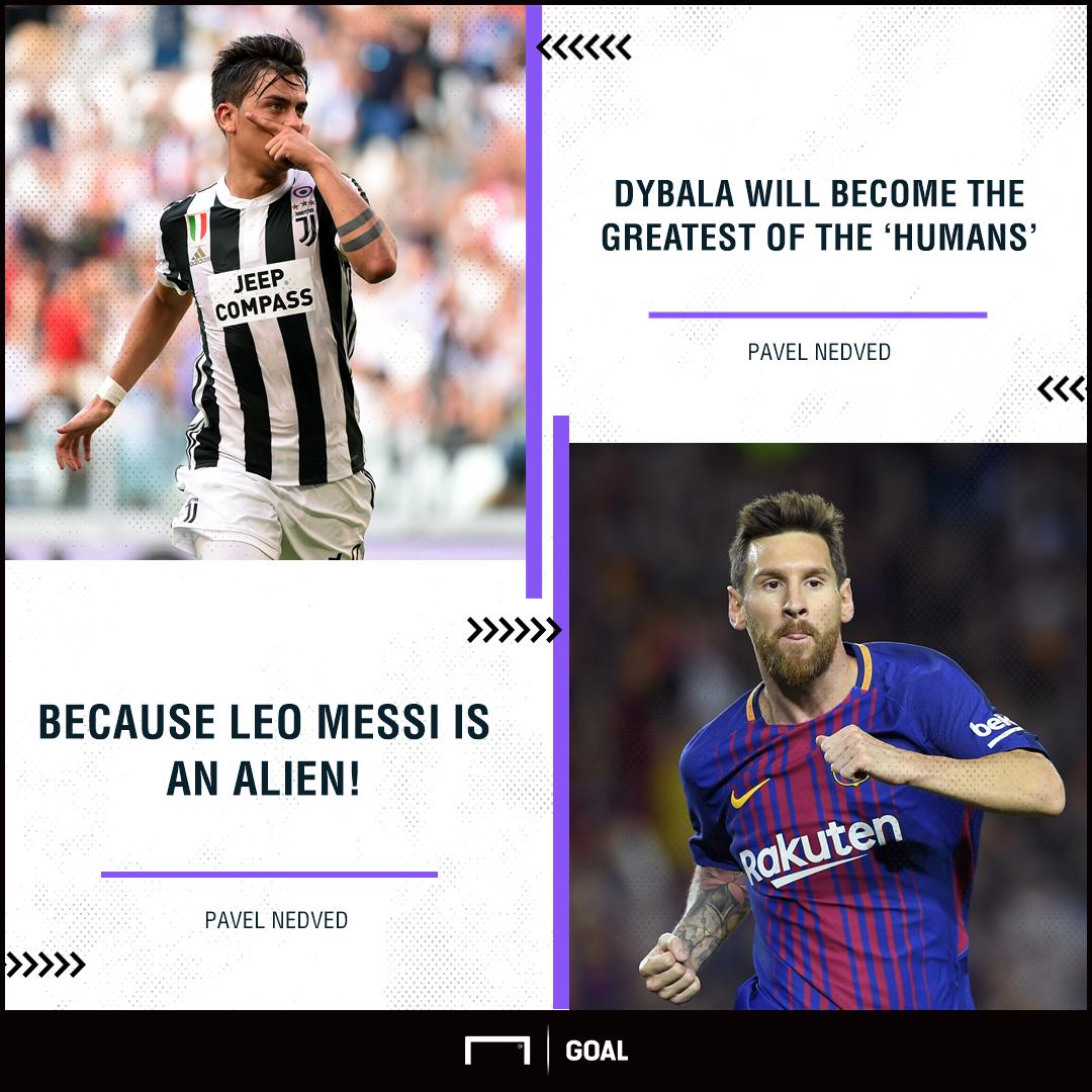 Pavel Nedved Paulo Dybala Lionel Messi greatest human v alien