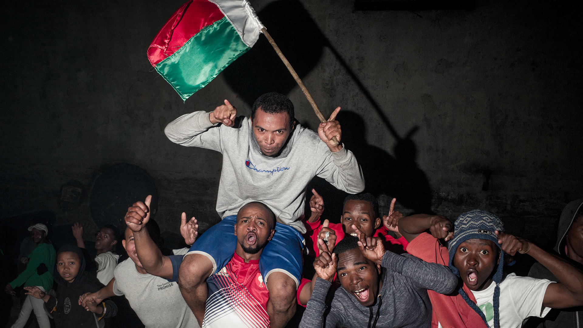Madagascar fans celebrate AFCON