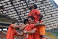 PKNS players celebrating their goal against Selangor 4/2/2017