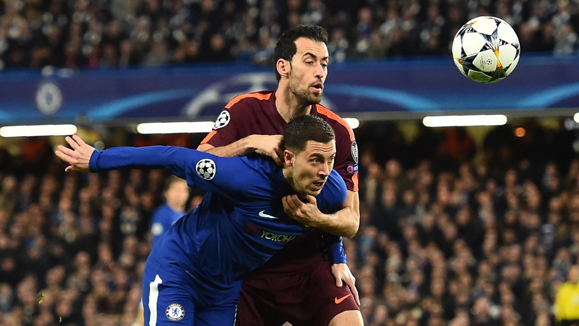Eden Hazard, Sergio Busquets, Chelsea vs Barcelona