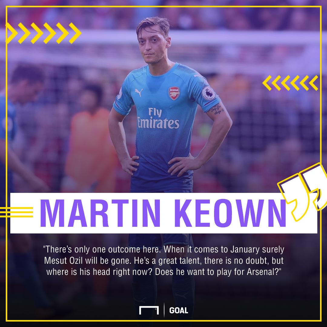 Martin Keown Mesut Ozil Arsenal January gone