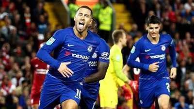 Eden Hazard Chelsea Liverpool League Cup 26092018