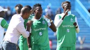 Gor Mahia coach Ze Maria instructs Kenneth Muguna and George Odhiambo