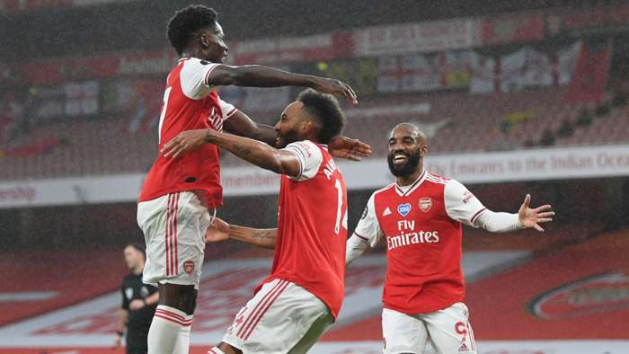 Bukayo Saka, Pierre-Emerick Aubameyang, Alexandre Lacazette, Arsenal