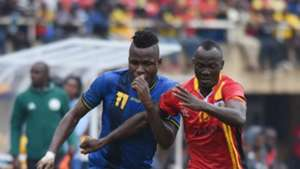 Thomas Ulimwengu of Tanzania challenges Godfrey Walusimbi of Uganda during the 2019 Afcon Qualifiers on 08 September 2018 at Mandela Stadium