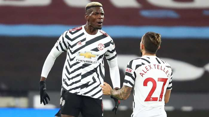 Paul Pogba Alex Telles Man Utd 2020-21