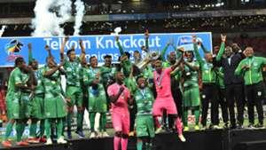 Baroka FC celebrate with Telkom Knockout trophy