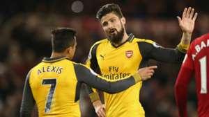 Olivier Giroud Alexis Sanchez Arsenal Middlesbrough