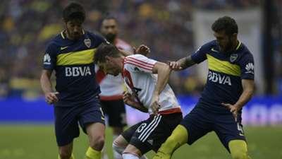 Pablo Perez Lucas Alario Gino Peruzzi Boca Juniors River Plate Primera Division Argentina 14052017