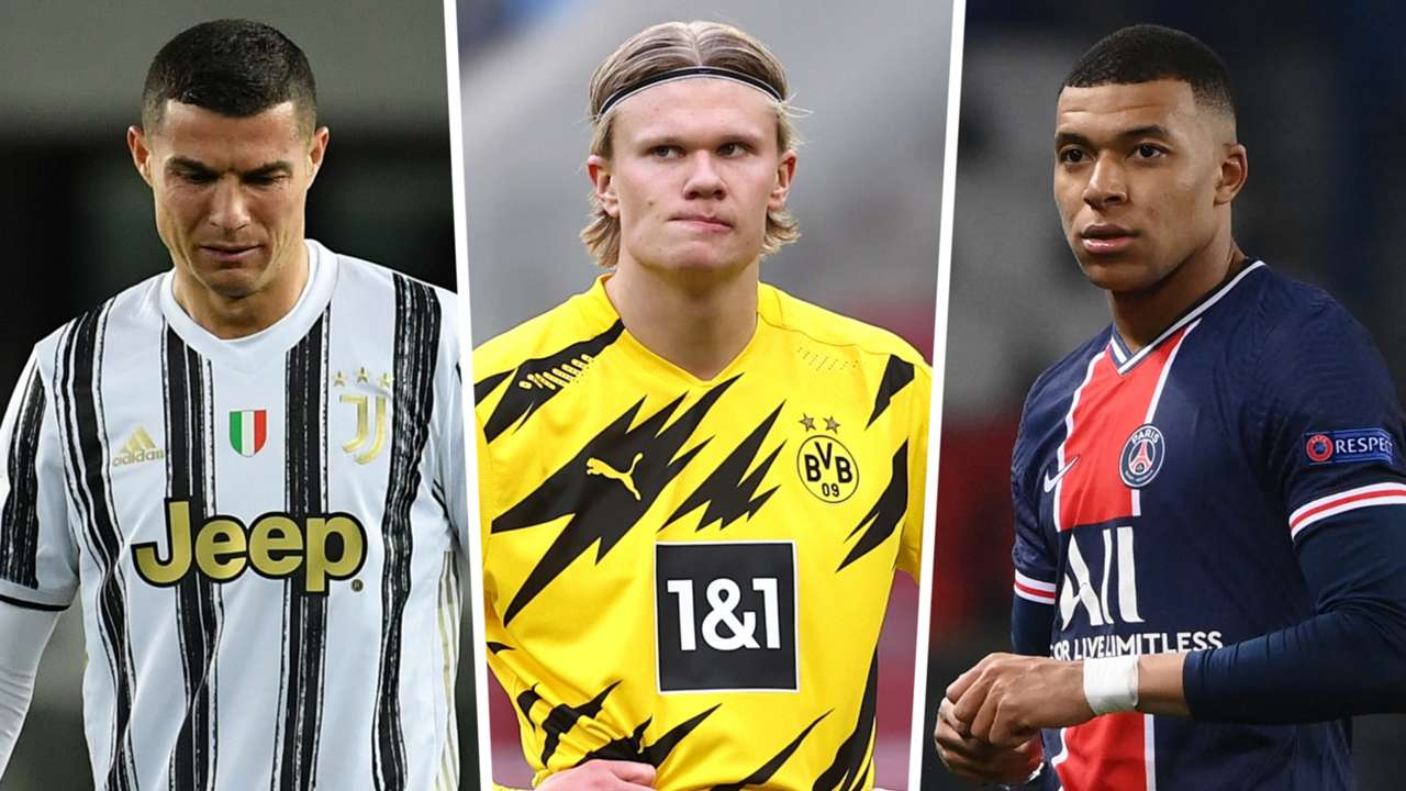 Cristiano Ronaldo Erling Haaland Kylian Mbappe Juventus Dortmund PSG GFX
