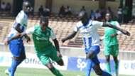 Boniface Omondi and Kenneth Muguna of Gor Mahia v AFC Leopards.